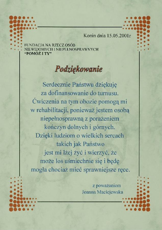 Podziekowanie od Pani Joanny Maciejewskiej